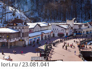 Купить «Ski resort in the Valley Rosa Khutor. Sochi, Russia», фото № 23081041, снято 10 февраля 2016 г. (c) Сергей Лаврентьев / Фотобанк Лори