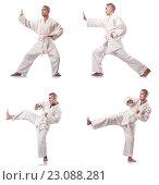 Купить «Collage of karate player in kimono isolated on white», фото № 23088281, снято 20 сентября 2012 г. (c) Elnur / Фотобанк Лори