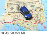 Купить «Автомобиль и деньги на фоне карты», эксклюзивное фото № 23090525, снято 14 июня 2016 г. (c) Яна Королёва / Фотобанк Лори