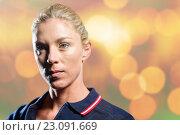Купить «Composite image of close-up of female tennis player», фото № 23091669, снято 31 марта 2020 г. (c) Wavebreak Media / Фотобанк Лори