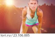 Купить «Composite image of exhausted woman after her run», фото № 23106885, снято 16 декабря 2018 г. (c) Wavebreak Media / Фотобанк Лори