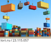 Купить «Cargo containers in storage area with forklifts. Delivery or shipping background concept.», иллюстрация № 23115057 (c) Maksym Yemelyanov / Фотобанк Лори