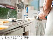Купить «Шлифовка камня», фото № 23115169, снято 2 июля 2015 г. (c) Юлия Бочкарева / Фотобанк Лори