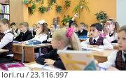 Ученики поднимают руки на уроке в школьном классе (2016 год). Редакционное видео, видеограф Кекяляйнен Андрей / Фотобанк Лори