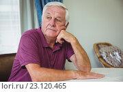 Купить «Senior man sitting at a table», фото № 23120465, снято 22 марта 2016 г. (c) Wavebreak Media / Фотобанк Лори