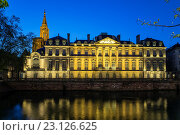 Купить «´Palais Rohan´ Rohan Palace and cathedral at night, Strasbourg, Alsace, France.», фото № 23126625, снято 5 декабря 2019 г. (c) age Fotostock / Фотобанк Лори