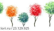Купить «Бордюр из повторяющихся деревьев. Иллюстрация акварелью.», иллюстрация № 23129925 (c) Марина / Фотобанк Лори