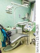 Купить «Интерьер стоматологического кабинета в зеленых тонах», фото № 23146261, снято 27 апреля 2016 г. (c) Евгений Ткачёв / Фотобанк Лори