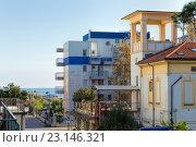 Купить «Отель New Clab и гостиница Derna. Римини. Италия», фото № 23146321, снято 6 ноября 2013 г. (c) Евгений Ткачёв / Фотобанк Лори