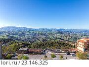Купить «Панорама Сан Марино и Апеннинские горы. Вид на гору Монте-Титано», фото № 23146325, снято 6 ноября 2013 г. (c) Евгений Ткачёв / Фотобанк Лори