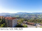 Купить «Сан Марино и Апеннинские горы. Вид на гору Монте-Титано», фото № 23146329, снято 6 ноября 2013 г. (c) Евгений Ткачёв / Фотобанк Лори