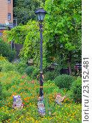 Оформление сада: уличный фонарь, садовые гномы,беседка под виноградной лозой и различные цветы и растения (2013 год). Редакционное фото, фотограф Виктория Ратникова / Фотобанк Лори