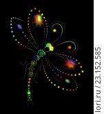 Изображение яркой, светящейся стрекозы. Стоковая иллюстрация, иллюстратор Костенко Юлия / Фотобанк Лори
