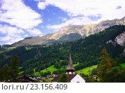 Живописный горный пейзаж, Lauterbrunnen, Швейцария (2014 год). Стоковое фото, фотограф Людмила Герасимова / Фотобанк Лори