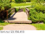 Деревянный мост в лесу летом. Стоковое фото, фотограф Sergey Borisov / Фотобанк Лори