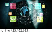 Купить «Business man touching technology graphic», видеоролик № 23162693, снято 6 августа 2020 г. (c) Wavebreak Media / Фотобанк Лори