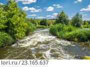 Купить «Бурный перекат на реке», фото № 23165637, снято 26 июня 2016 г. (c) Борис Панасюк / Фотобанк Лори