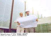 Купить «smiling businessmen with blueprint and helmets», фото № 23186897, снято 19 августа 2014 г. (c) Syda Productions / Фотобанк Лори