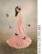 Девушка с бабочками. Стоковое фото, фотограф Маргарита Нижарадзе / Фотобанк Лори