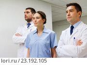 Купить «group of medics or doctors at hospital», фото № 23192105, снято 3 декабря 2015 г. (c) Syda Productions / Фотобанк Лори
