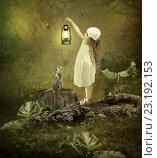 Девочка с лампой и сурикат. Стоковая иллюстрация, иллюстратор Маргарита Нижарадзе / Фотобанк Лори