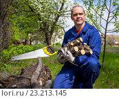 Мужчина 40 лет с дровами в руках в летнем саду. Стоковое фото, фотограф Вячеслав Палес / Фотобанк Лори