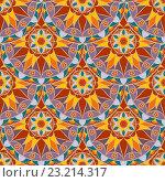 Купить «Бесшовный цветной фон с узором мандала», иллюстрация № 23214317 (c) Бражников Андрей / Фотобанк Лори