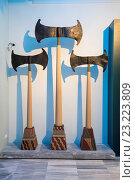 Купить «Minoan axes in the Heraklion Archeological Museum, Iraklio, (Heraklion), Crete, Greece.», фото № 23223809, снято 10 мая 2016 г. (c) age Fotostock / Фотобанк Лори