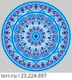 Растительный круговой орнамент - мандала в голубо-белой цветовой схеме на сером фоне. Стоковая иллюстрация, иллюстратор Алина Чебыкина / Фотобанк Лори