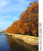 Купить «Набережная реки Сочи, платаны с желтой листвой, голубое небо с белыми облаками», фото № 23226741, снято 4 ноября 2013 г. (c) DiS / Фотобанк Лори