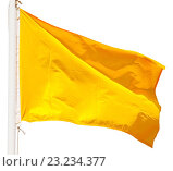 Купить «Yellow signal flag isolated over white», фото № 23234377, снято 19 марта 2019 г. (c) Яков Филимонов / Фотобанк Лори