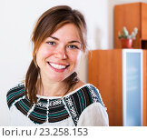 Купить «Smiling woman posing at home», фото № 23258153, снято 12 ноября 2019 г. (c) Яков Филимонов / Фотобанк Лори