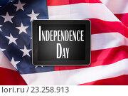 Купить «close up of tablet pc on american independence day», фото № 23258913, снято 6 мая 2016 г. (c) Syda Productions / Фотобанк Лори