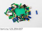 Купить «close up of green alkaline batteries», фото № 23259037, снято 3 июня 2016 г. (c) Syda Productions / Фотобанк Лори