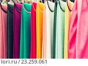 Купить «colorful textile at asian street market», фото № 23259061, снято 7 февраля 2015 г. (c) Syda Productions / Фотобанк Лори