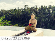 Купить «infinity edge pool with buddha statue», фото № 23259069, снято 21 февраля 2015 г. (c) Syda Productions / Фотобанк Лори