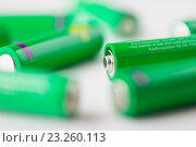 Купить «close up of green alkaline batteries», фото № 23260113, снято 3 июня 2016 г. (c) Syda Productions / Фотобанк Лори