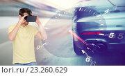 Купить «man in virtual reality headset and car racing game», фото № 23260629, снято 12 марта 2016 г. (c) Syda Productions / Фотобанк Лори