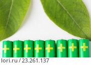 Купить «close up of green alkaline batteries», фото № 23261137, снято 3 июня 2016 г. (c) Syda Productions / Фотобанк Лори