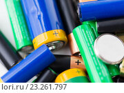 Купить «close up of alkaline batteries», фото № 23261797, снято 3 июня 2016 г. (c) Syda Productions / Фотобанк Лори