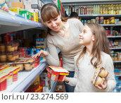 Купить «Мама с маленькой дочерью покупают йогурт в магазине», фото № 23274569, снято 23 января 2016 г. (c) Татьяна Яцевич / Фотобанк Лори