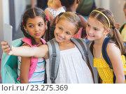 Купить «Cute pupils at a lesson at school», фото № 23275369, снято 10 апреля 2016 г. (c) Wavebreak Media / Фотобанк Лори