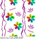 Бесшовный фон с цветами и коронами. Стоковая иллюстрация, иллюстратор Назарова Мария / Фотобанк Лори
