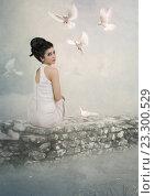 Девушка и голуби. Стоковая иллюстрация, иллюстратор Маргарита Нижарадзе / Фотобанк Лори