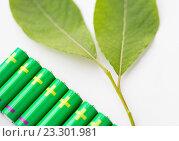 Купить «close up of green alkaline batteries», фото № 23301981, снято 3 июня 2016 г. (c) Syda Productions / Фотобанк Лори