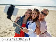 Купить «group of smiling women taking selfie on beach», фото № 23302281, снято 7 июня 2016 г. (c) Syda Productions / Фотобанк Лори