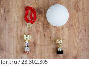 Купить «close up of volleyball ball, cups and medals», фото № 23302305, снято 17 июня 2016 г. (c) Syda Productions / Фотобанк Лори