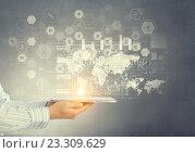 Купить «Using innovative technologies . Mixed media», фото № 23309629, снято 19 марта 2019 г. (c) Sergey Nivens / Фотобанк Лори