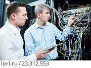 Купить «two network support engineers administrating in server room», фото № 23312553, снято 30 марта 2016 г. (c) Дмитрий Калиновский / Фотобанк Лори