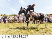 Купить «Девочка казачка скачет на лошади», фото № 23314237, снято 18 июня 2016 г. (c) Акиньшин Владимир / Фотобанк Лори